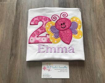 Butterfly birthday shirt personalized