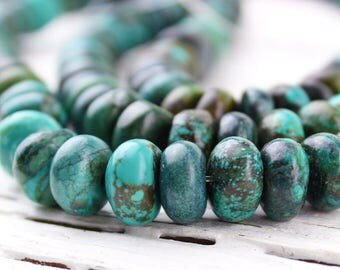 "Natural Turquoise Large Smooth Rondelle Heishi Tyre Beads, Genuine Turquoise, H28, 10x6mm, 15"" Strand"