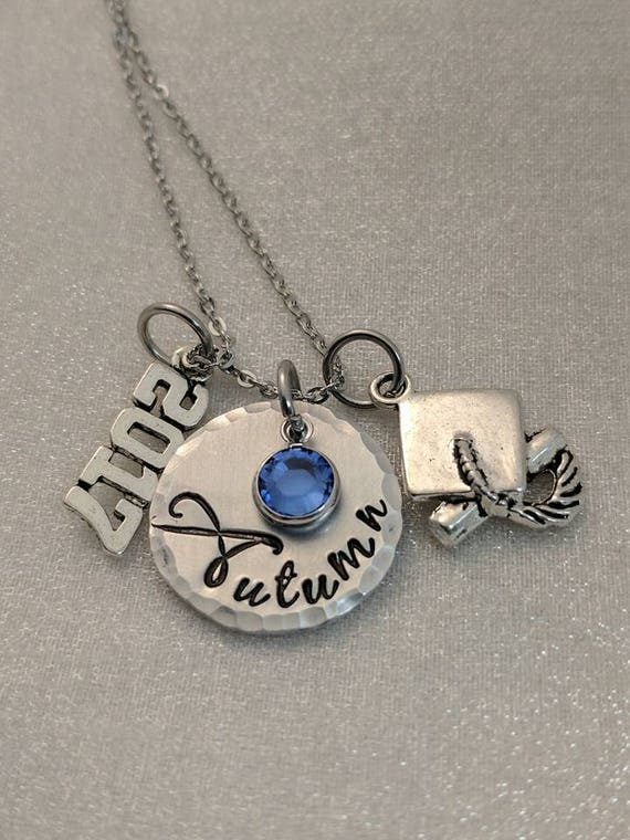 Graduate Gift, Personalized Graduation Necklace, Hand Stamped Jewelry, Class of 2017, Handmade Graduation Gift, Graduate Gift, Grad Gift