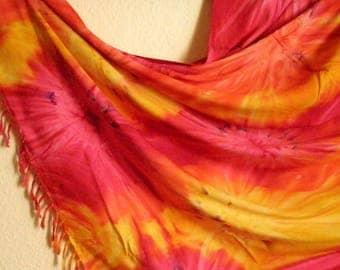 Extra large: sarong, wraparound skirt, scarf, shawl, orange-yellow-pink