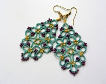 Aqua turquoise tatting lace earrings made in Italy | tatted earrings | tatting jewelry | beaded earrings | beadwork | made to order