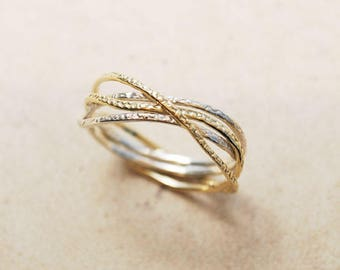 Promise Ring For Her, Mixed metal ring, Silver and Gold ring, Unique gift for her, 30th Birthday for her, Unique engagement ring