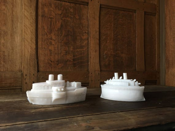 Pair Of Antique Milk Glass Battle Ships, Candy Dish, Mustard Dish, Maine And Wheeling Gun Boats
