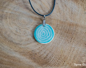 Ceramic necklace, ceramic jewelry, porcelain, leather cord,  white, blue-green, sgraffito, organic pattern, stainless steel, handmade
