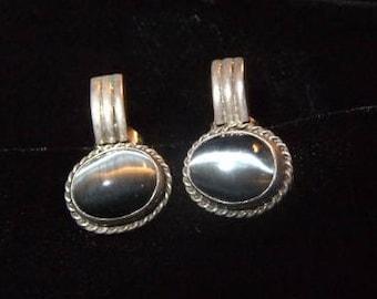 Sterling Silver and Grey Moonstone Pierced Earrings