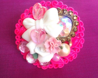 Pink Princess Kawaii Statement Ring, sweet lolita, fairy kei, gyaru, girly, chunky, Harajuku, bedazzled, bejeweled