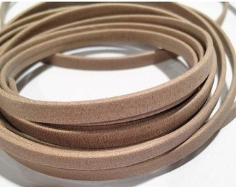 5mm Flat Leather Cord, Soft Beige Matte Arizona Soft Strap