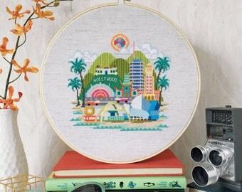 Pretty Little Los Angeles - printed version - Satsuma Street Modern Cross Stitch Pattern