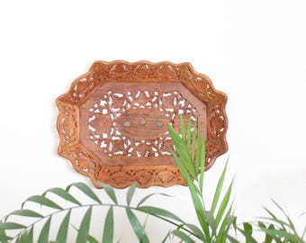 Tray Decorative Serving Tray Carved Wood Brass Inlet Bohemian Boho Home Decor