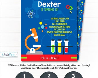 Science Party Invitation - Science Birthday Invitation - Mad Scientist Invitation - Science Lab Party Invitation- INSTANT ACCESS - Edit NOW!
