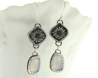 Blue Chalcedony Drop Earrings Fine and Sterling Silver Artisan Jewelry