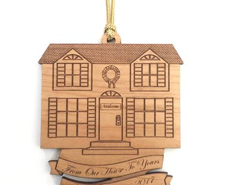 Personalized Wood House Ornament
