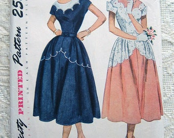 Vintage 50s Dress, Scalloped Neckline and Skirt Topstitch Detail. Simplicity 3170 Sewing Pattern. Size 16 Bust 34""