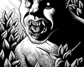 "Inktober original: ""Wolfman"" (5.5x7 in)"