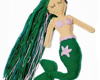 Crochet Mermaid Doll - Sparkly Mermaid Rag Doll - Children's Mermaid Toy - Mermaid Stuffed Animal Doll -  Little Girls Keepsake Gift