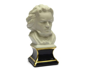 Vintage Beethoven Composers Bust by Camille Tharaud. Limoges Porcelain Man's Head Figurine. Gift for Musician.
