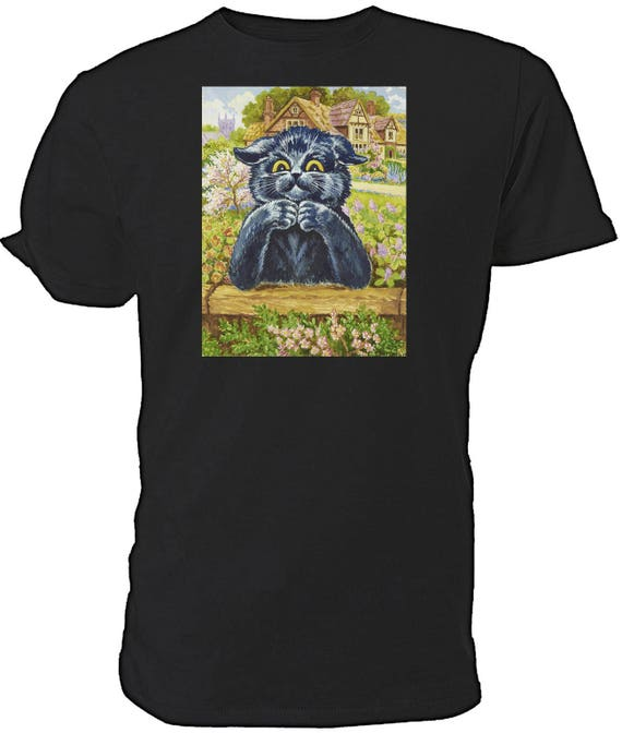 Louis Wain Black Thinking Cat  T shirt. classic round neck short sleeved choice of sizes and colours,