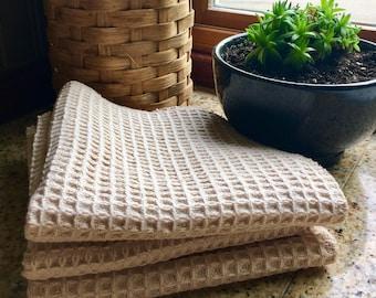 Organic Waffle Weave Dish Cloth - Reusable Kitchen Towel - Unpaper Towel - Set of 2