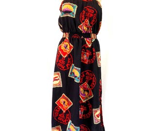 Late 1970's Postage Stamp Print Strapless Dress Sz. S