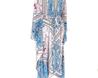 silk kimono, silk kaftan robe, silk robe, silk kaftan, silk beach cover up, silk kimono, long silk kimono, silk paisley kimono,