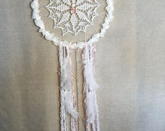 Dreamcatcher with 3D roses and pink orchid