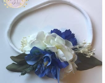 Periwinkle headband- made to match Omi Jo Periwinkle- blue headband- periwinkle bow- periwinkle floral- periwinkle prop