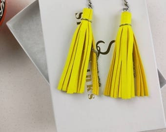 Neon tassel earrings, Leather earrings, Fringe earrings, tassel gift girlfriend, Bohemian jewelry for wife, Yellow  tassel jewelry for her
