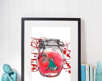 Art print, goldfish in a glass jar, home decor