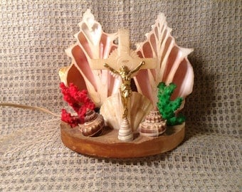 Rare Handmade Jesus on Cross, Seashell Nightlight - Sea Shells, Colored Coral - Unique Christian, Crucifix Lamp -  Beach, Tropical, Grotto