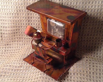 """Brass Piano Player Music Box - Song """"The Entertainer"""" - Works Great - Saloon Style Man Playing Piano - Industrial Oxidized Metal Decor"""
