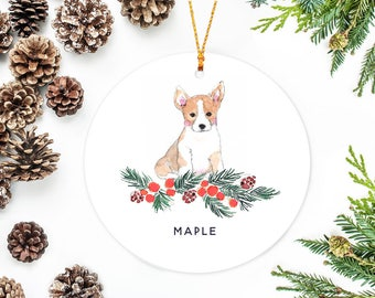 Corgi Dog Ornament, Personalized Dog Christmas Ornament