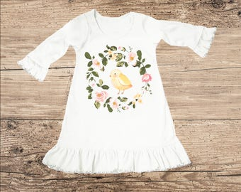 Easter Chick Dress with Flower Wreath