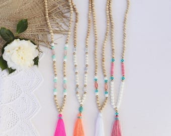 long beaded tassel necklace, with natural wooden beads and resin colored beads - pink , coral, white or mixed colored tassel