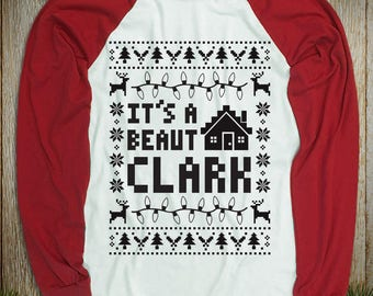 """New """"It's A Beaut Clark"""" Baseball Style Unisex Long Sleeved Shirts for Vacation Movie Fans, Clark Sr fans, Christmas and Thanksgiving Party"""
