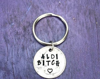 ALDI Quarter, Shopping Mom, Quarter Holder, Shopping Cart, Aldi's key chain, Hand Stamped,Gifts for Her, Parents Gifts,Shop, Quarter Jewelry