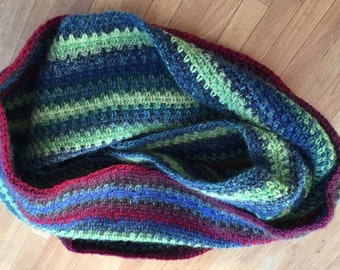 Handmade crochet circular cowl, wool, linen stitch stripes