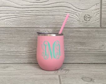 Personalized Wine Glass-Stainless Steel Wine Tumbler-Monogrammed Tumbler-Stainless Steel Wine Glass-Personalized Wine Tumbler-Light Pink