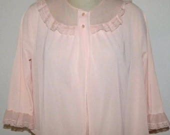 1970s 70s Pink Bed Jacket / LORRAINE / Pretty Romantic Lace Trim / Vintage size Large