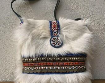 boho bag-goat fur bag-leather bag-tote bag-bohemian bag-white bag-handmade bag-shoulder bag-shopping bag-boho chic-tribal bag-fur bag-ooak