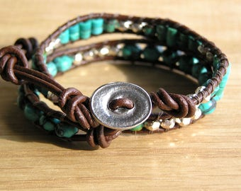 Leather Double Wrap Bracelet Turquoise and Silver beads