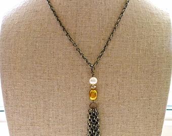 Antique Brass Tassel Necklace, Freshwater Pearls, Crystals, Tassel Jewelry, Tassel Jewellery, Boho Chic Jewelry, Boho Chic Jewellery