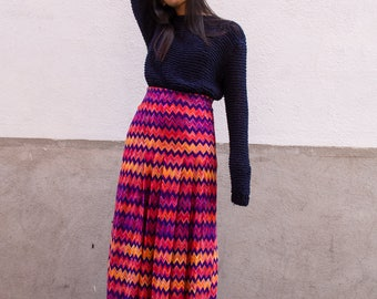vintage 1970s missoni multicolor chevron striped maxi skirt