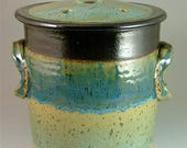 Pottery Compost Pot - Black, Turquoise Green and Glossy Blue / Kitchen Counter-Top Compost / Veggie Scrap Container