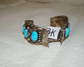 NA 3-K Sterling & Turquoise NA Watch Bracelet