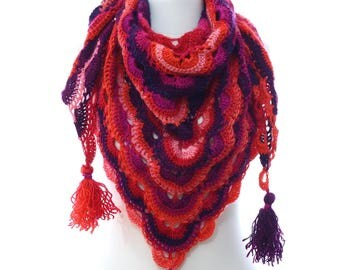 Hand Crochet Bohemian Shawl Scarf,Evening Shawl,Fall Winter Shawl,Multicolor Orange Purple Red Navy Shawl, Gift Ideas For Her Mom