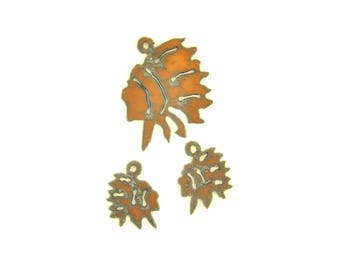 American Indian With Headdress Rusty Metal Pendant/Charm And Earrings 3-Piece Set