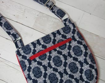 Cross Body Purse / Tote / Shoulder Bag w/ Adjustable Strap in Floral /Skull and Red Tribal Fabric - One of a Kind! Red, Navy, Gray