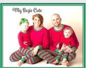 Family Christmas Pajamas, Matching Red Green Christmas Pajamas, Embroidered and Comfy Matching Family Christmas Pajamas. Childrens PJs