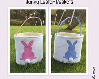 Easter Basket (Bunny Tail Basket) Personalized with Embroidered Name for Easter Egg Hunting or Gifting. Bunny Easter Basket for Boy or Girl