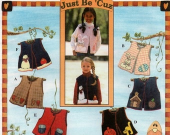 Child's Lined Vest with front Button and Appliques, Simplicity 7366 Sewing Pattern, Multi-Size 2, 3, 4, Uncut and Vintage